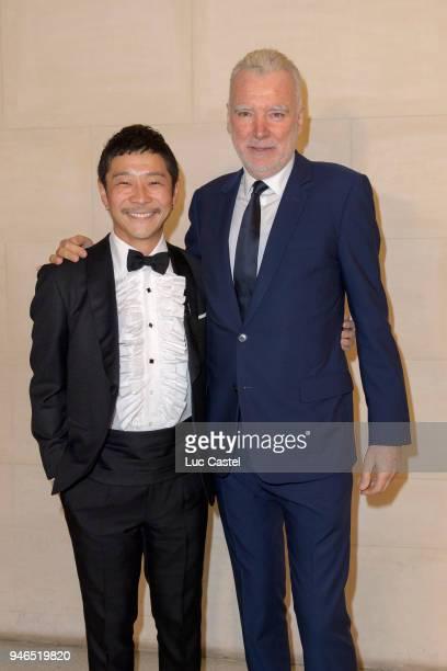 Yusaku Maezawa poses with Patrick Seguin during Yusaku Maezawa Patrick Seguin Awarded Chevalier Des Arts et Lettres on March 6 2018 in Paris France