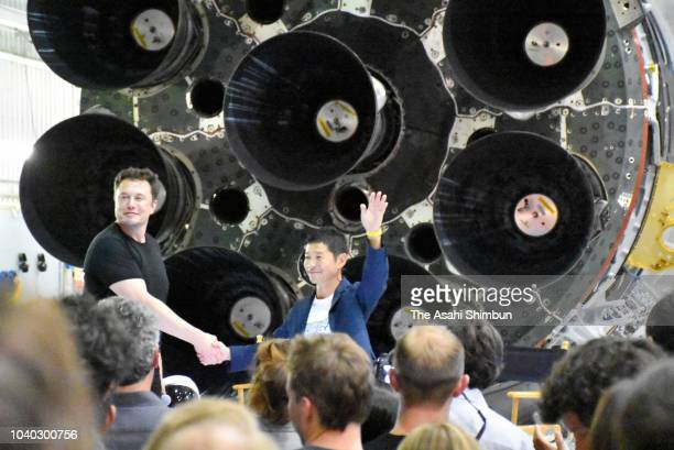 Yusaku Maezawa the Japanese billionaire chosen by SpaceX CEO Elon Musk to fly around the moon smiles at SpaceX headquarters on September 17 2018 in...