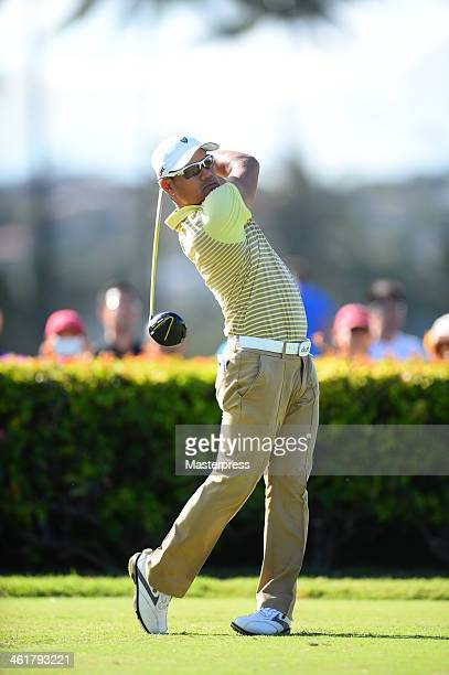 Yusaku Miyazato of Japan hits a tee shot on the 10th hole during round two of the Sony Open in Hawaii at Waialae Country Club on January 10 2014 in...