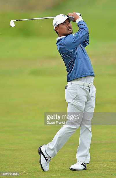 Yusaku Miyazato of Japan hits an approach during a practice round prior to the start of The 143rd Open Championship at Royal Liverpool on July 16...