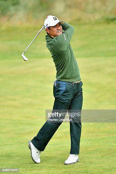Yusaku Miyazato of Japan hits an approach during previews ahead of the 145th Open Championship at Royal Troon on July 12 2016 in Troon Scotland