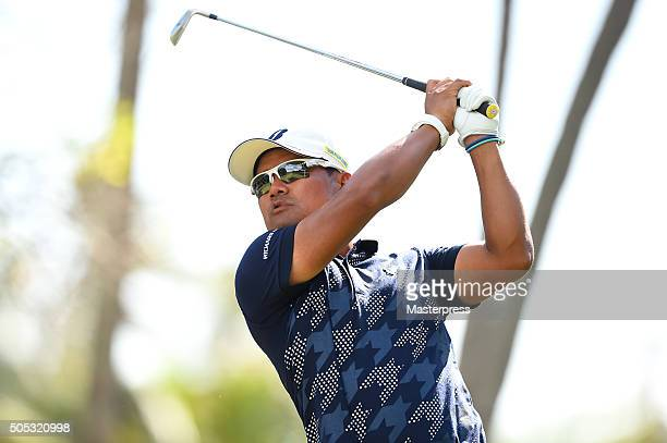 Yusaku Miyazato of Japan hits his tee shot on the 4th hole during the third round of the Sony Open In Hawaii at Waialae Country Club on January 16...