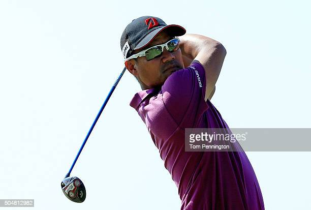 Yusaku Miyazato of Japan plays a shot during the Sony Open In Hawaii ProAm tournament at Waialae Country Club on January 13 2016 in Honolulu Hawaii