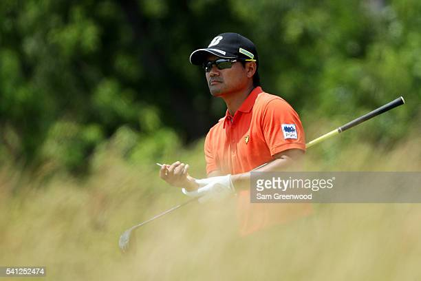 Yusaku Miyazato of Japan plays his shot from the fourth tee during the final round of the US Open at Oakmont Country Club on June 19 2016 in Oakmont...