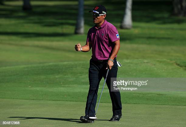 Yusaku Miyazato of Japan reacts during the Sony Open In Hawaii ProAm tournament at Waialae Country Club on January 13 2016 in Honolulu Hawaii
