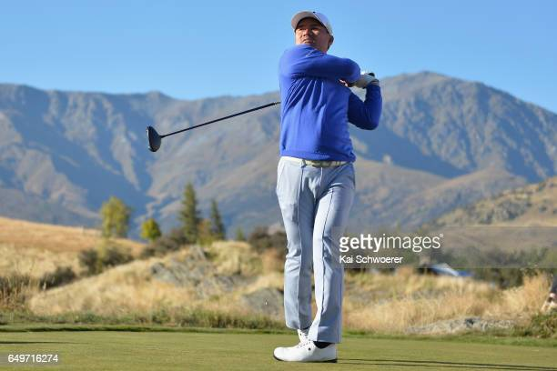 Yusaku Miyazato of Japan tees off during day one of the New Zealand Open at The Hills on March 9 2017 in Queenstown New Zealand