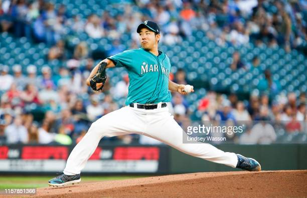 Yusei Kikuchi of the Seattle Mariners delivers a pitch in the first inning against the Detroit Tigers at TMobile Park on July 26 2019 in Seattle...