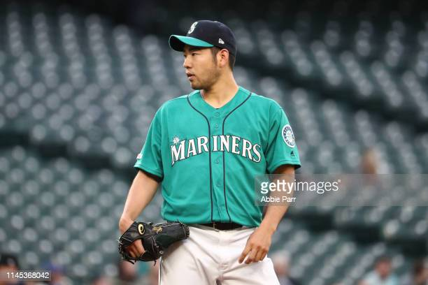 Yusei Kikuchi of the Seattle Mariners looks on in the first inning against the Texas Rangers during their game at TMobile Park on April 26 2019 in...