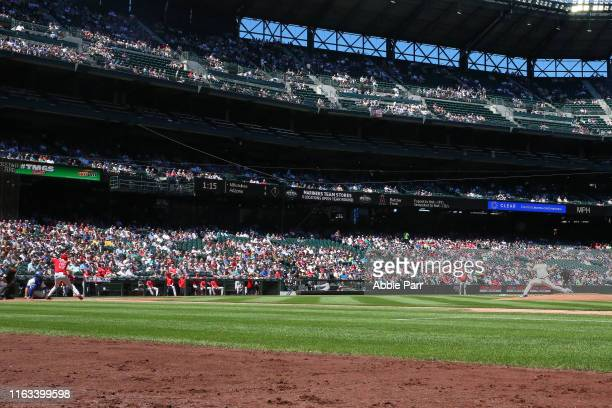 Yusei Kikuchi of the Seattle Mariners pitches against Shohei Ohtani of the Los Angeles Angels of Anaheim in the first inning during their game at...
