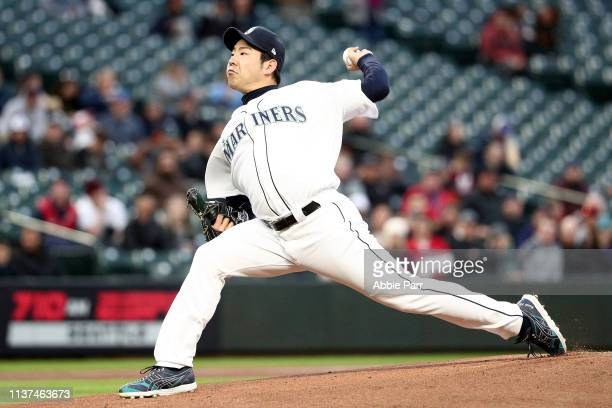 Yusei Kikuchi of the Seattle Mariners pitches against the Cleveland Indians in the first inning during their game at TMobile Park on April 15 2019 in...