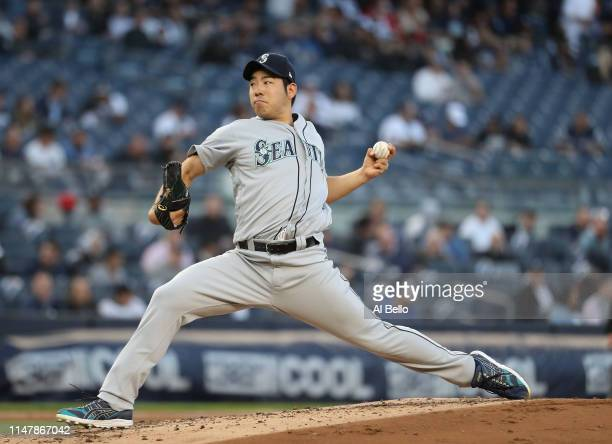 Yusei Kikuchi of the Seattle Mariners pitches against the New York Yankees during their game at Yankee Stadium on May 08 2019 in New York City