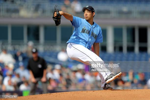Yusei Kikuchi of the Seattle Mariners pitches in the first inning during a Spring Training game against the Cincinnati Reds on Monday February 25...
