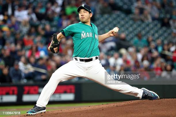 Yusei Kikuchi of the Seattle Mariners pitches in the first inning during his MLB debut against the Boston Red Sox during their game at TMobile Park...