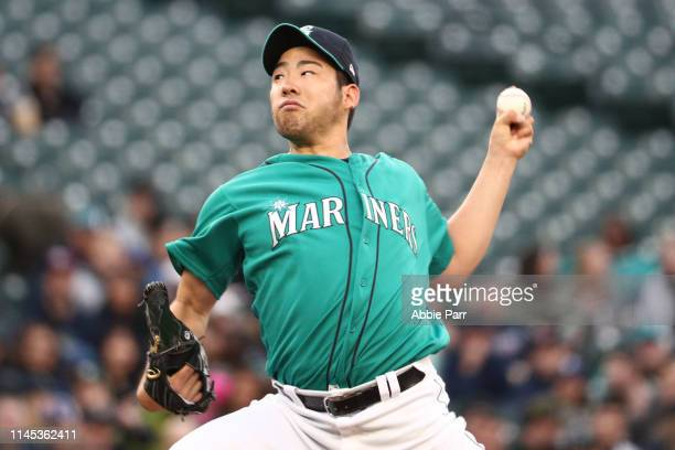 Yusei Kikuchi of the Seattle Mariners pitches in the first inning against the Texas Rangers during their game at TMobile Park on April 26 2019 in...