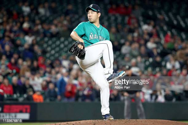 Yusei Kikuchi of the Seattle Mariners pitches in the third inning during his MLB debut against the Boston Red Sox during their game at TMobile Park...
