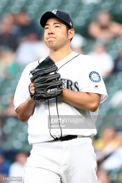 Yusei Kikuchi of the Seattle Mariners reacts after giving up a hit in the third inning against the Los Angeles Angels at TMobile Park on May 30 2019...