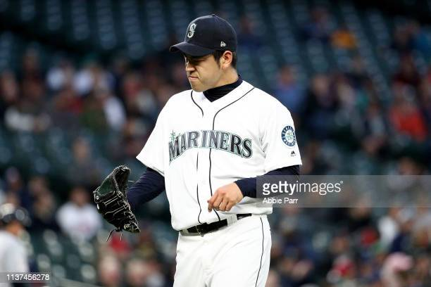 Yusei Kikuchi of the Seattle Mariners reacts against the Cleveland Indians in the first inning during their game at TMobile Park on April 15 2019 in...