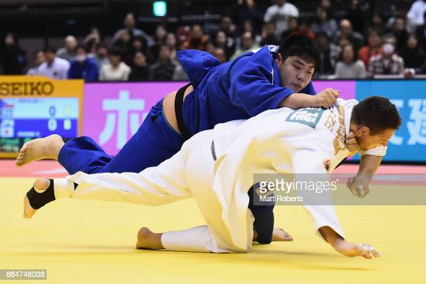 Yusei Ogawa of Japan competes against Lukas Krpalek of Czech Republic in the Men's 100kg Final during day two of the Judo Grand Slam Tokyo at Tokyo...