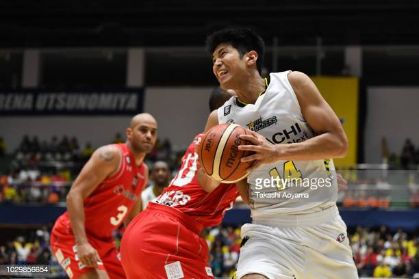 Yusei Sugiura of the Sun Rockers Shibuya drives to the basket during the B.League Early Cup Kanto 3rd Place Game between Chiba Jets and Sun Rockers...