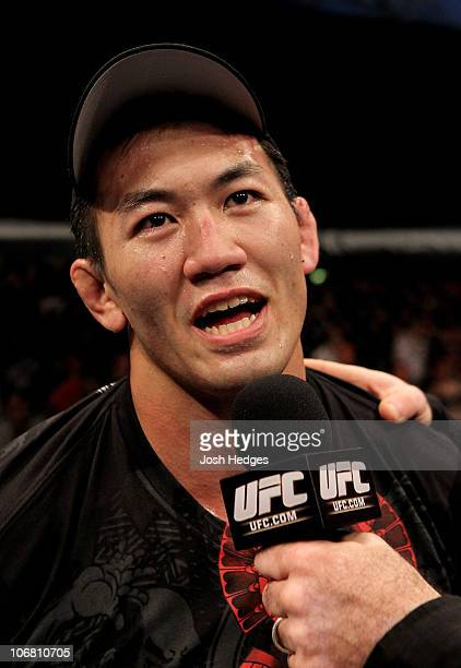 Yushin Okami of Japan is interviewd after his unanimous points victory over Nate Marquardt of the USA during their UFC Middleweight Championship...