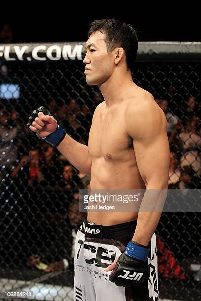 Yushin Okami of Japan looks on during his UFC Middleweight Championship Eliminator bout at the Konig Pilsner Arena on November 13, 2010 in...