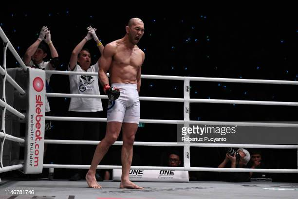 Yushin Okami of Japan prepares before fighting against Kiamrian Abbasov of Kyrgyzstan during ONE Championship Welter Weight at Istora Senayan on May...