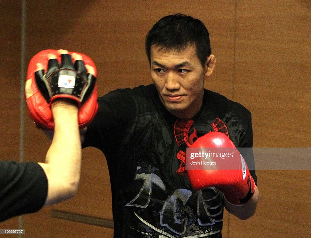 Yushin Okami of Japan works out at the UFC 122 open workouts at the Hilton Hotel on November 10, 2010 in Dusseldorf, Germany.