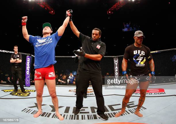 Yushin Okami reacts after defeating Hector Lombard in their middleweight fight during the UFC on FUEL TV event at Saitama Super Arena on March 3,...