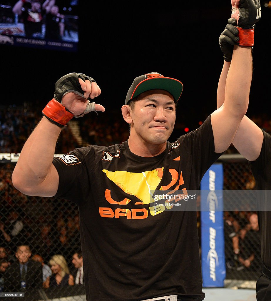 Yushin Okami reacts to his victory over Alan Belcher after their middleweight fight at UFC 155 on December 29, 2012 at MGM Grand Garden Arena in Las Vegas, Nevada.