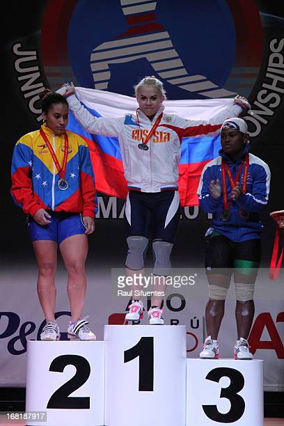 Yusleidy Figueroa of Venezuela A Ksenia Maximova of Russia A and Yineisy Reyes of Dominican Republic A in the podium of the Women's 58kg snatch...