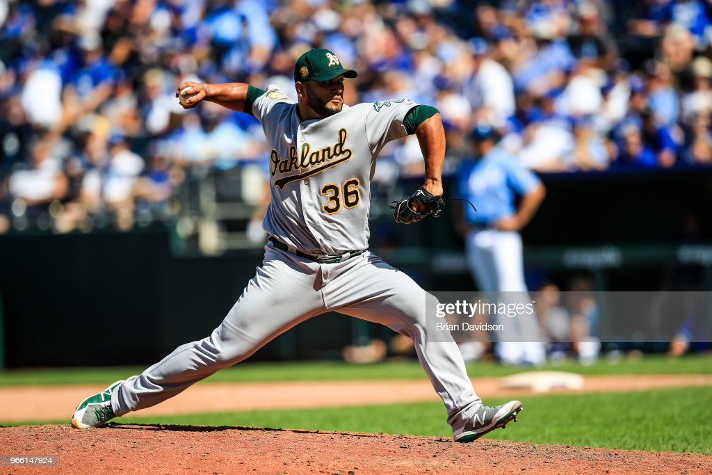 Yusmeiro Petit #36 of the Oakland Athletics pitches during the eighth inning against the Kansas City Royals at Kauffman Stadium on June 2, 2018 in Kansas City, Missouri.