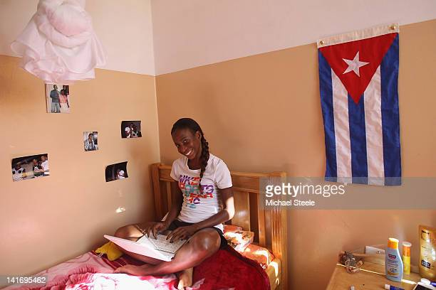 Yusneysi Sautiusti Caballero 800m runner of Cuba who is vying for citizenship for Italy in her bedroom at the Rosa Training Camp on February 4 2012...