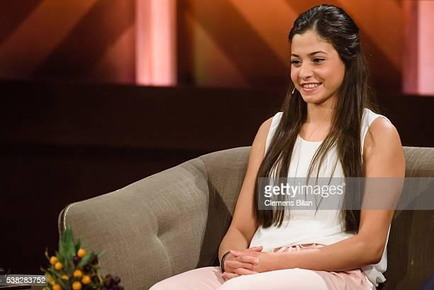 Yusra Mardini attends the TV Show 'Mensch Gottschalk - Das bewegt Deutschland' on June 5, 2016 in Berlin, Germany.