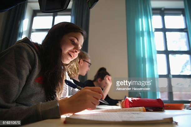 "Yusra Mardini of Syria at her ""Sportschule im Olympiapark"" on March 9, 2016 in Berlin, Germany."