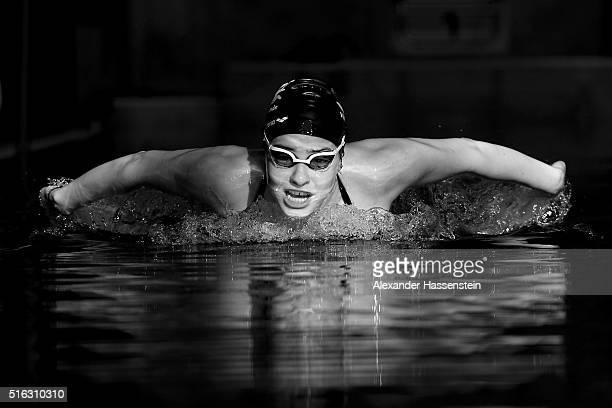 Yusra Mardini of Syria during a training session at the Wasserfreunde Spandau 04 training pool Olympiapark Berlin on March 9, 2016 in Berlin, Germany.