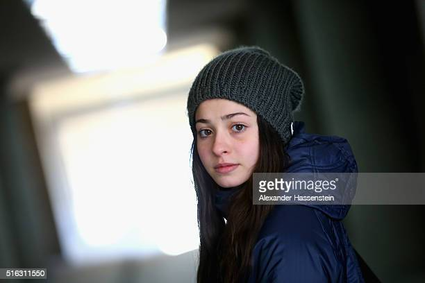"""Yusra Mardini of Syria on the way to her """"Sportschule im Olympiapark"""" on March 9, 2016 in Berlin, Germany."""