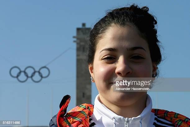 Yusra Mardini of Syria visit the Olympiastadium Olympiapark Berlin on March 9, 2016 in Berlin, Germany.
