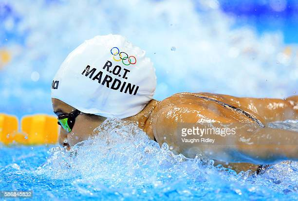 Yusra Mardini of the Refugee Olympic Team competes in the Women's 100m Butterfly Heats on Day 1 of the Rio 2016 Olympic Games at the Olympic Aquatics...