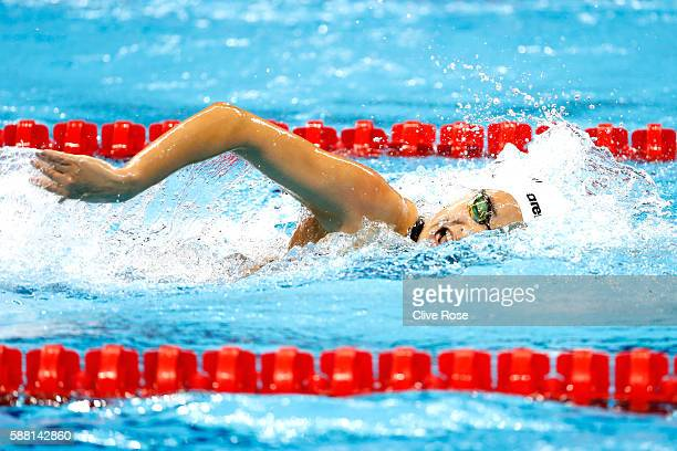Yusra Mardini of the Refugee Olympic Team competes in the Women's 100m Freestyle heat on Day 5 of the Rio 2016 Olympic Games at the Olympic Aquatics...