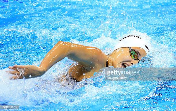 Yusra Mardini of the Refugee Olympic Team competes in the Women's 100m Freestyle Heats on Day 5 of the Rio 2016 Olympic Games at the Olympic Aquatics...