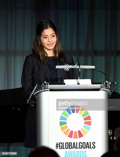 Yusra Mardini speaks onstage during 2016 Global Goals Awards Dinner at Gustavino's on September 20, 2016 in New York City.