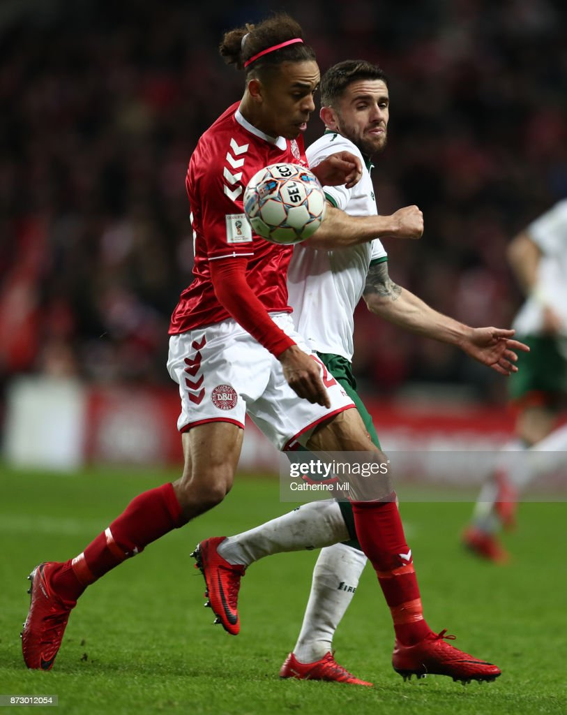 Yussuf Poulsen of Denmark and Robbie Brady of Republic of Irelandduring the FIFA 2018 World Cup Qualifier Play-Off: First Leg between Denmark and Republic of Ireland at Telia Parken on November 11, 2017 in Copenhagen, Denmark.