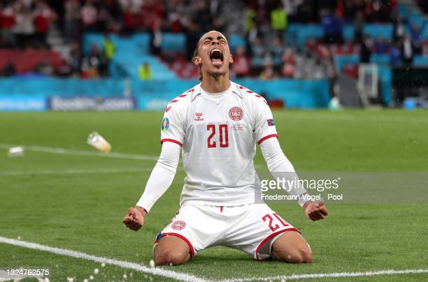 Yussuf Poulsen of Denmark celebrates after scoring their side's second goal during the UEFA Euro 2020 Championship Group B match between Russia and...