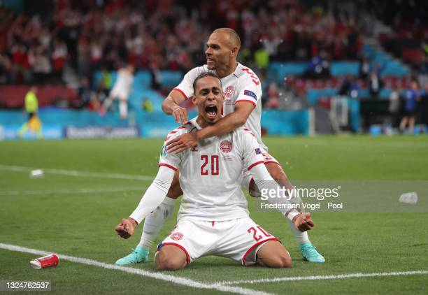 Yussuf Poulsen of Denmark celebrates with teammate Martin Braithwaite after scoring their side's second goal during the UEFA Euro 2020 Championship...