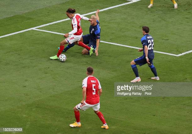 Yussuf Poulsen of Denmark is fouled by Paulus Arajuuri of Finland leading to a penalty being awarded during the UEFA Euro 2020 Championship Group B...