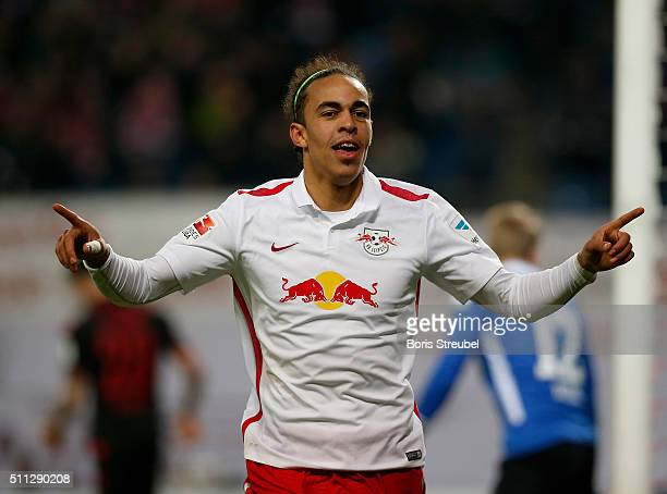 Yussuf Poulsen of Leipzig celebrates after scoring his team's third goal during the Second Bundesliga match between RB Leipzig and 1. FC Union Berlin...
