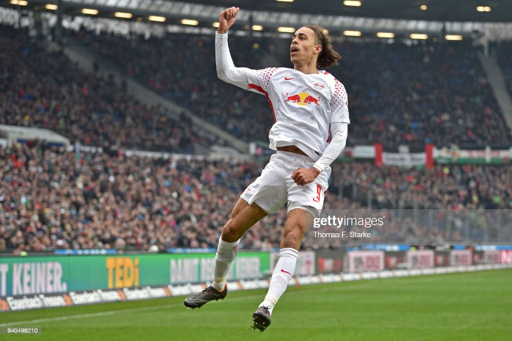 Yussuf Poulsen of Leipzig celebrates his teams third goal during the Bundesliga match between Hannover 96 and RB Leipzig at HDI-Arena on March 31, 2018 in Hanover, Germany.