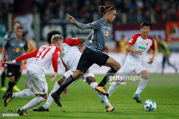 Yussuf Poulsen of Leipzig during the Bundesliga match between FC Augsburg and RB Leipzig at WWKArena on September 19 2017 in Augsburg Germany