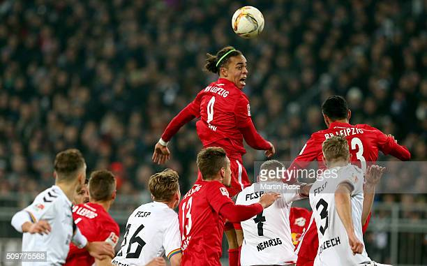 Yussuf Poulsen of Leipzig heads for the ball during the second Bundesliga match between FC St Pauli and RB Leipzig at Millerntor Stadium on February...