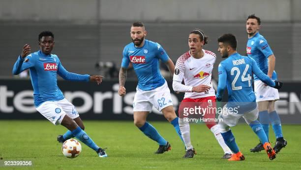 Yussuf Poulsen of Leipzig in action against Amadou Diawara Lorenzo Tonelli Lorenzo Insigne and Mario Rui of Napoli during the UEFA Europa League...